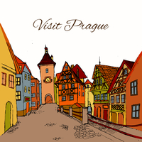 Old town Prague city retro buildings sketch travel postcard vector illustration