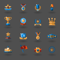 Award icons flat set of champion cup winner prophy isolated vector illustration