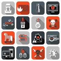 Hacker web security icons flat set with firewall computer spam isolated vector illustration
