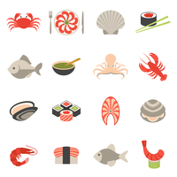 Seafood fish menu restaurant icons set flat with crab shrimps shell roll isolated vector illustration