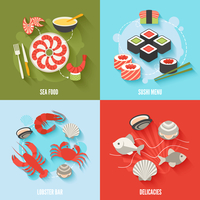 Seafood flat icons set with sushi menu lobster bar delicacies isolated vector illustration