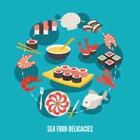 Sea food fish menu restaurant japanese delicacies flat decorative icons set vector illustration