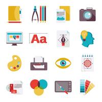 Graphic design studio tools creative process flat icons set isolated vector illustration 60016001775| 写真素材・ストックフォト・画像・イラスト素材|アマナイメージズ