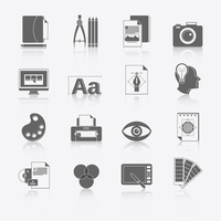 Graphic design studio tools black icons set with brush marker camera isolated vector illustration. 60016001776| 写真素材・ストックフォト・画像・イラスト素材|アマナイメージズ