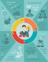 Business meeting infographic set with pie chart and businessman avatar vector illustration