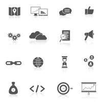SEO marketing training landing search web site black icons set isolated vector illustration