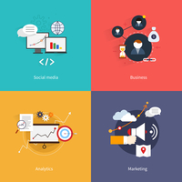 SEO marketing flat icons set with social media business analytics isolated vector illustration