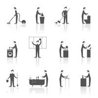Cleaning black icons set with people figures and housekeeping equipment isolated vector illustration