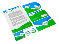 Green and blue abstract business company style stationery sample for corporate identity isolated vector illustration
