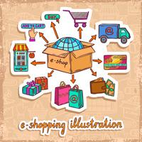 Internet shopping e-commerce mobile online purchase process sketch sticker design concept vector illustration 60016001847| 写真素材・ストックフォト・画像・イラスト素材|アマナイメージズ