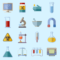 Science and research laboratory icons set with monitor poison protective gloves flask isolated vector illustration