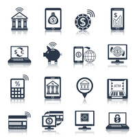 Mobile banking black icons set with phone payment digital transfer e-commerce customer services isolated vector illustration 60016001856| 写真素材・ストックフォト・画像・イラスト素材|アマナイメージズ