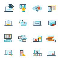 Online education e-learning video tutorial training flat icons set vector illustration 60016001862| 写真素材・ストックフォト・画像・イラスト素材|アマナイメージズ
