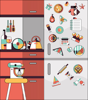 Kitchen interior modern home food cooking flat line design vector illustration