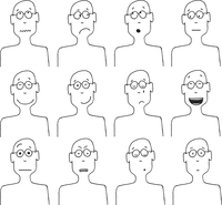 Vector cartoon faces and emotions 60016001916| 写真素材・ストックフォト・画像・イラスト素材|アマナイメージズ