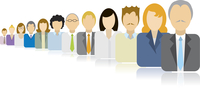 Business people icons team / Endless queue