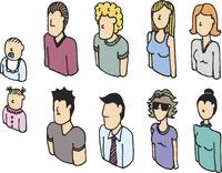 Colorful people vector icon set / Lineart avatars 60016001935| 写真素材・ストックフォト・画像・イラスト素材|アマナイメージズ