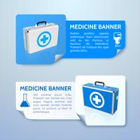 Medical bag banners set. Vector Illustration, eps 10, contains transparencies.