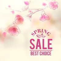 Spring sale and flowers. Vector illustration.