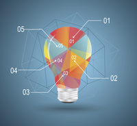 Infographic Template with Light bulbs geometric design.