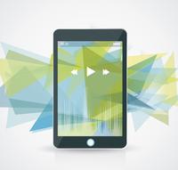 Perfectly detailed modern smart phone with geometric background  60016002584| 写真素材・ストックフォト・画像・イラスト素材|アマナイメージズ