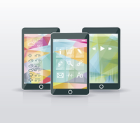 Perfectly detailed modern smart phone with geometric background  60016002587| 写真素材・ストックフォト・画像・イラスト素材|アマナイメージズ