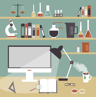 desktop scientist chemist illustration