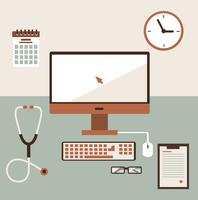 Medical workplace. Flat design. 60016002639| 写真素材・ストックフォト・画像・イラスト素材|アマナイメージズ