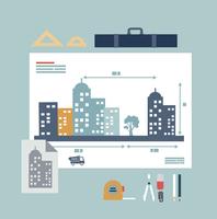 architect drawings illustration. Flat modern style vector design  60016002648| 写真素材・ストックフォト・画像・イラスト素材|アマナイメージズ