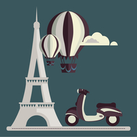 Eiffel Tower Paris scooter Air Balloon Clouds vector/illustration 60016002655| 写真素材・ストックフォト・画像・イラスト素材|アマナイメージズ