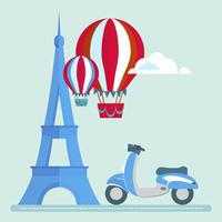Eiffel Tower Paris scooter Air Balloon Clouds vector/illustration 60016002656| 写真素材・ストックフォト・画像・イラスト素材|アマナイメージズ