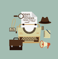 typewriter, hat, paper sheets, magnifying glass, notebook, speaker, journalist badge illustration 60016002659| 写真素材・ストックフォト・画像・イラスト素材|アマナイメージズ