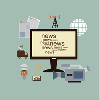 journalist says TV news illustration. Flat modern style vector design