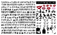 Collection of silhouettes of people. 360 silhouettes of people. A vector illustration