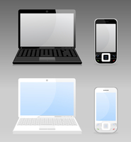 Computer. Set the white both black laptop and phone. A vector illustration