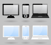 Set the white both black laptop and phone. A vector illustration