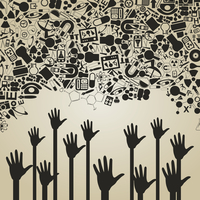 Hands reach for a science. A vector illustration 60016002760  写真素材・ストックフォト・画像・イラスト素材 アマナイメージズ