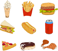 Set of sketch doodles hamburger hot dog fast food pizza icons in color vector illustration 60016002912| 写真素材・ストックフォト・画像・イラスト素材|アマナイメージズ