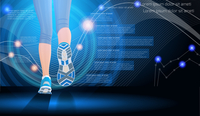 Technology sport background in blue color with female legs vector illustration