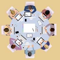 Top view concept of business meeting brainstorming professional people on the table vector illustration 60016002930| 写真素材・ストックフォト・画像・イラスト素材|アマナイメージズ