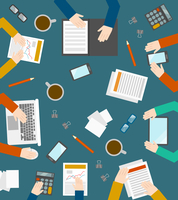 Flat style hand and office workers icons business management meeting and brainstorming in top view vector illustration