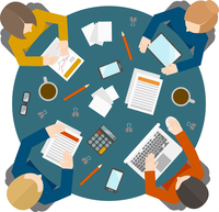 Flat style office workers business management meeting and brainstorming on the round table in top view vector illustration 60016002937| 写真素材・ストックフォト・画像・イラスト素材|アマナイメージズ