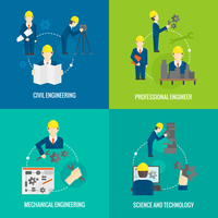 Civil professional mechanical science engineering concept flat business icons set of manufacturing management worker for infogra