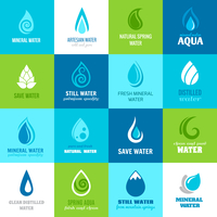 Set of water design clean nature aquadrops in blue and green color with text vector illustration