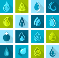 Set of water drops icons set for healthy medicine design in flat style with long shadows vector illustration