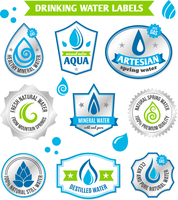 Set of water drops label badge set for healthy aqua bottles design vector illustration