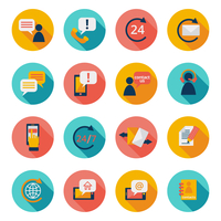 Customer care contacts flat icons set of online and offline support services isolated vector illustration