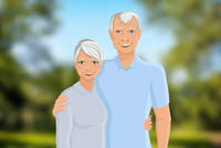 Old senior people family couple half-length portrait on outdoor background vector illustration. 60016002975| 写真素材・ストックフォト・画像・イラスト素材|アマナイメージズ