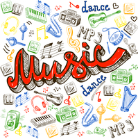 Music composition with note dance words saxophone in sketch color style vector illustration