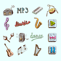 Set of music dance instruments hand drawn color icons in sketch style vector illustration